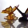 sculpture papillon en cristal Daum France couleur ambre