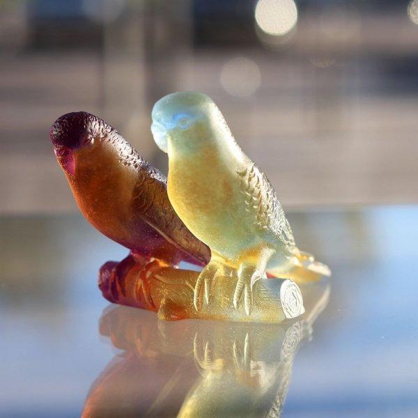 sculpture perruche cristal daum france