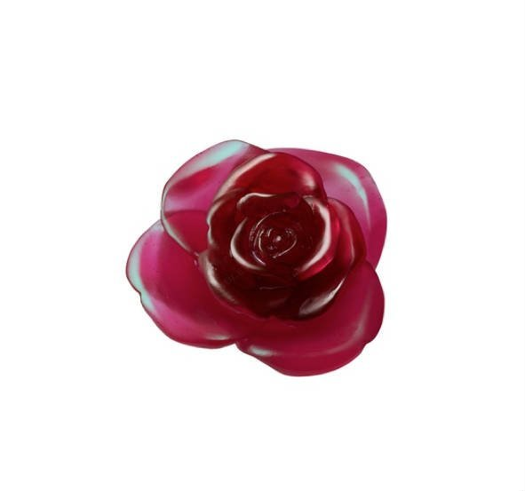 Fleur Rouge Rose Passion Daum Vessiere Cristaux