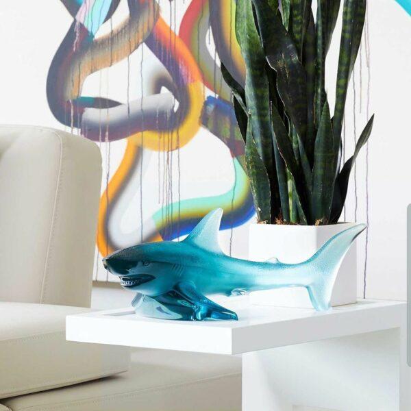 requin en cristal bleu Persepolis Lalique France