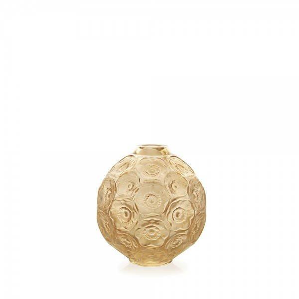 Gold Luster Anemones Bud Vase Lalique Vessiere Cristaux
