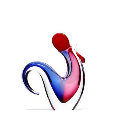 Sculpture-coq-cristal-rouge-bleu