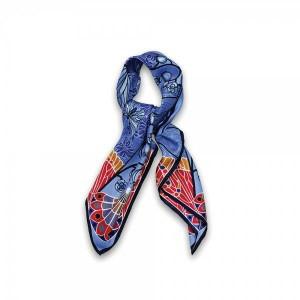 foulard-bleu-soie-lalique