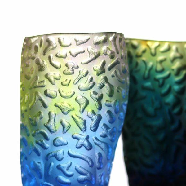 vase en pate de verre coraux bleu et jaune Daum France