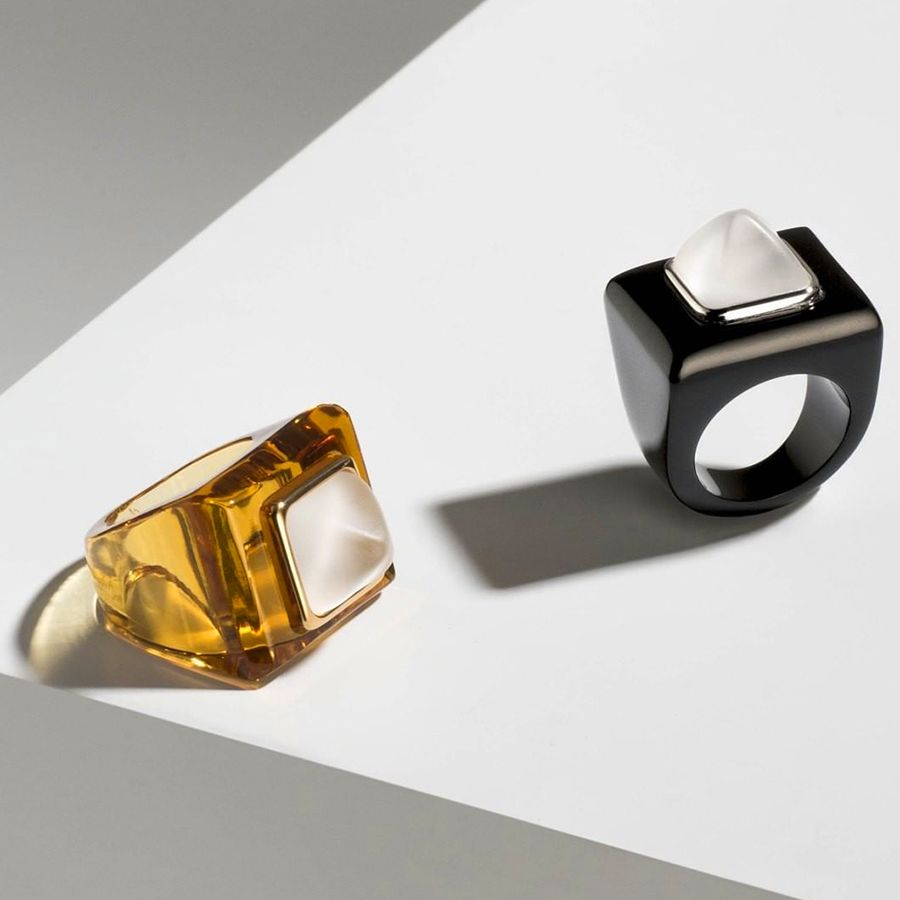 CHARMANTE RING AMBER CRYSTAL LALIQUE   Vessiere Cristaux