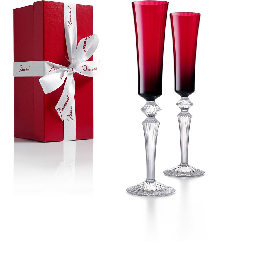 SET OF 2 RED MILLE NUITS FLUTISSIMO BACCARAT | Vessiere