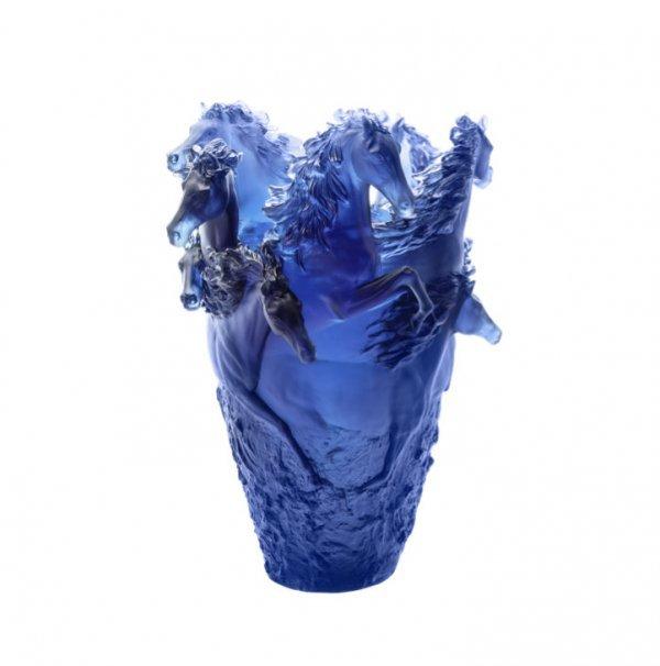Blue Horse Vase Daum Vessiere Cristaux