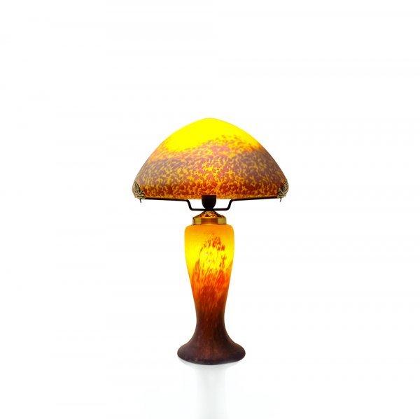 Lampe-champignon-pate-de-verre-jaune
