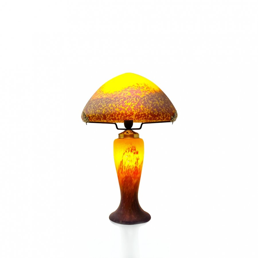 lampe champignon p te de verre jaune. Black Bedroom Furniture Sets. Home Design Ideas