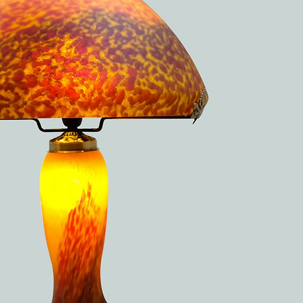 Lampe grand mod le p te de verre jaune - Lampe pate de verre ...