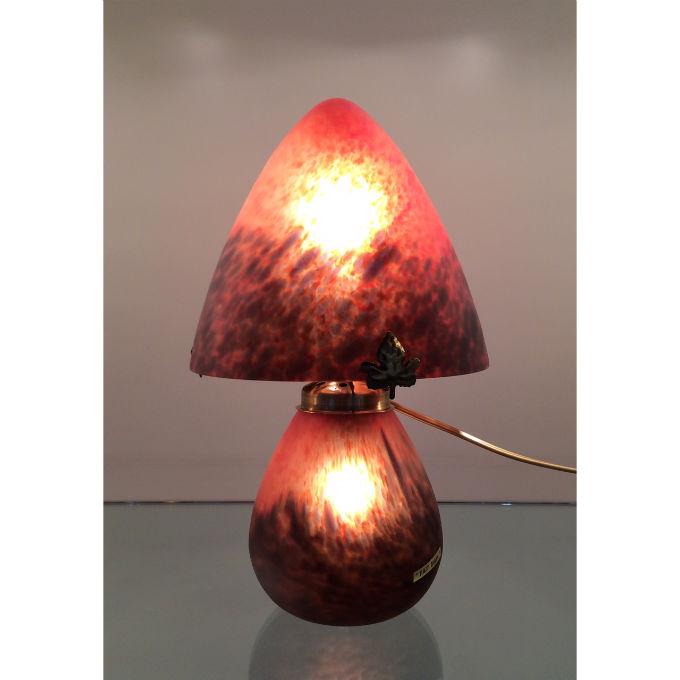 Lampe champignon rouge p te de verre - Lampe pate de verre ...