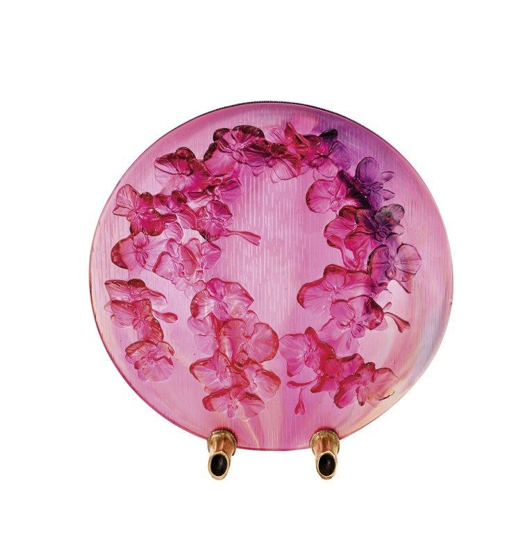 Disque-decoratif-fleurs-dorchidée-Daum