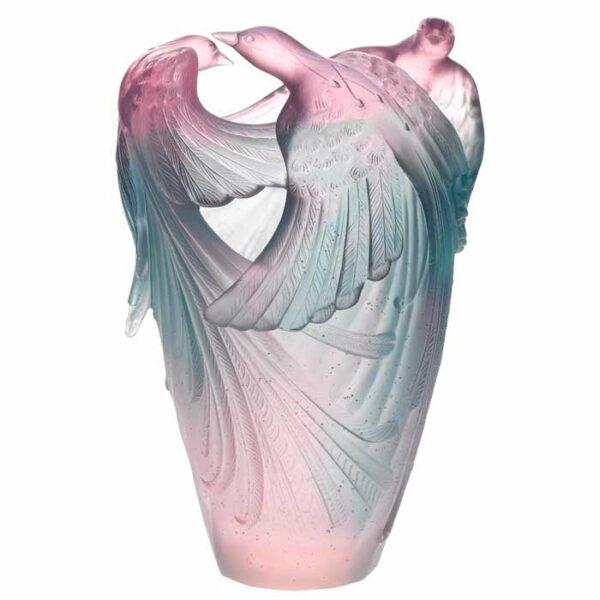 Vase-oiseau-Paradis-vert-rose-Daum