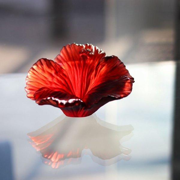 sculpture fleur hibiscus en cristal Daum France