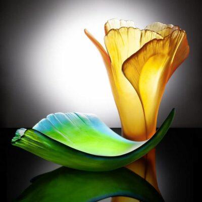 coupe-vase-ambre-ginkgo-daum-