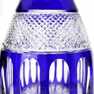 Carafe-vin-taille-diamant-cristal-bleu