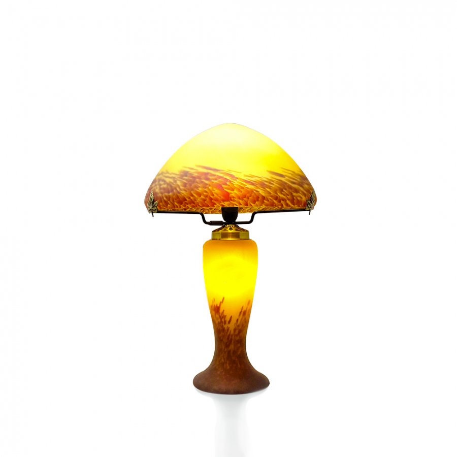 lampe champignon p te de verre ivoire vessiere cristaux. Black Bedroom Furniture Sets. Home Design Ideas
