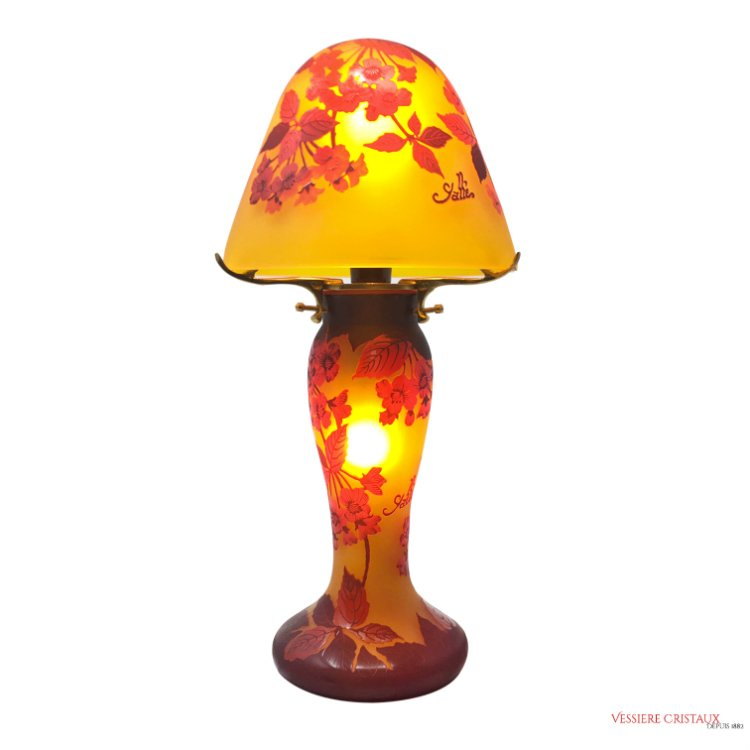 lampe champignon p te de verre tip gall vessiere. Black Bedroom Furniture Sets. Home Design Ideas