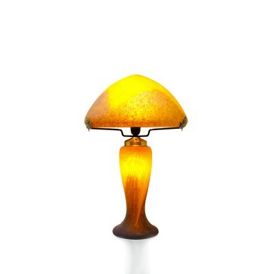 Lampe-pate-verre-orange-vessiere