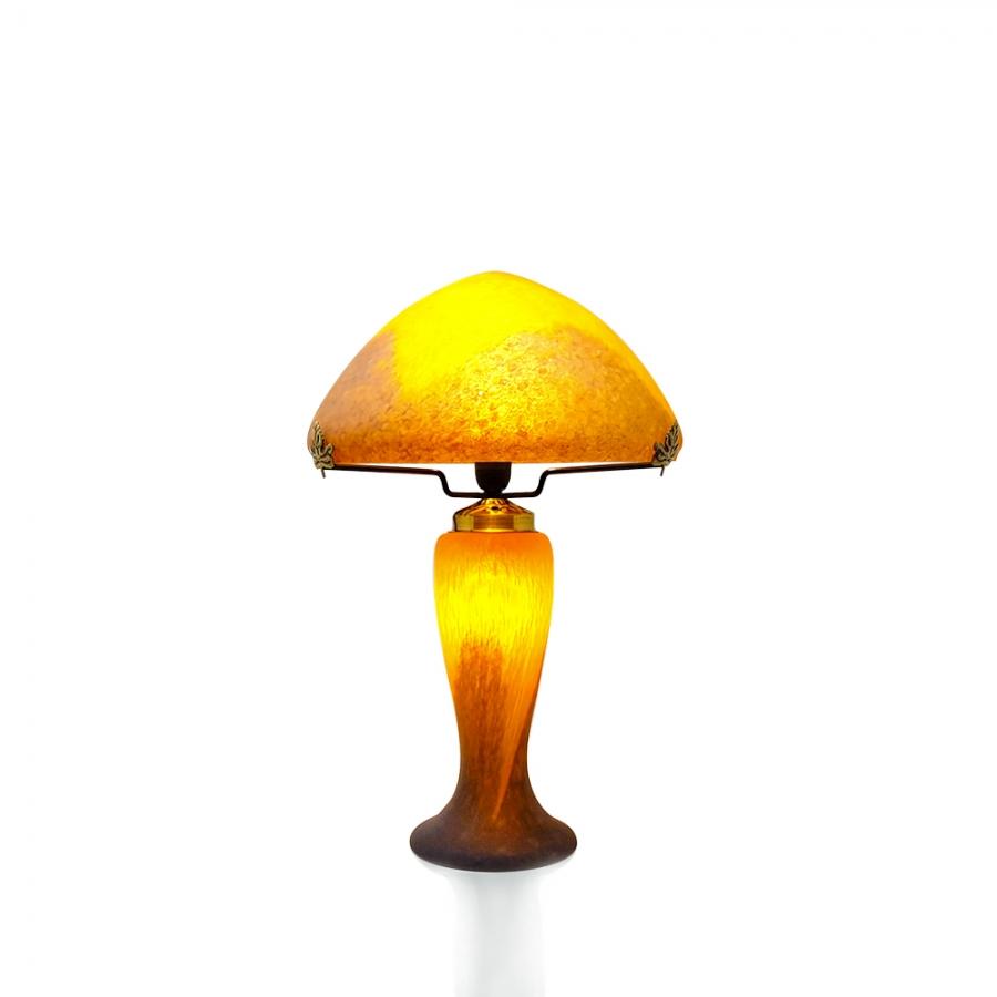 Lampe champignon p te de verre orange - Lampe pate de verre ...