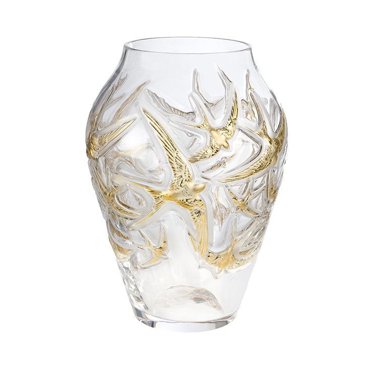 Swallow grand vase lalique vessiere cristaux for Lalique vase