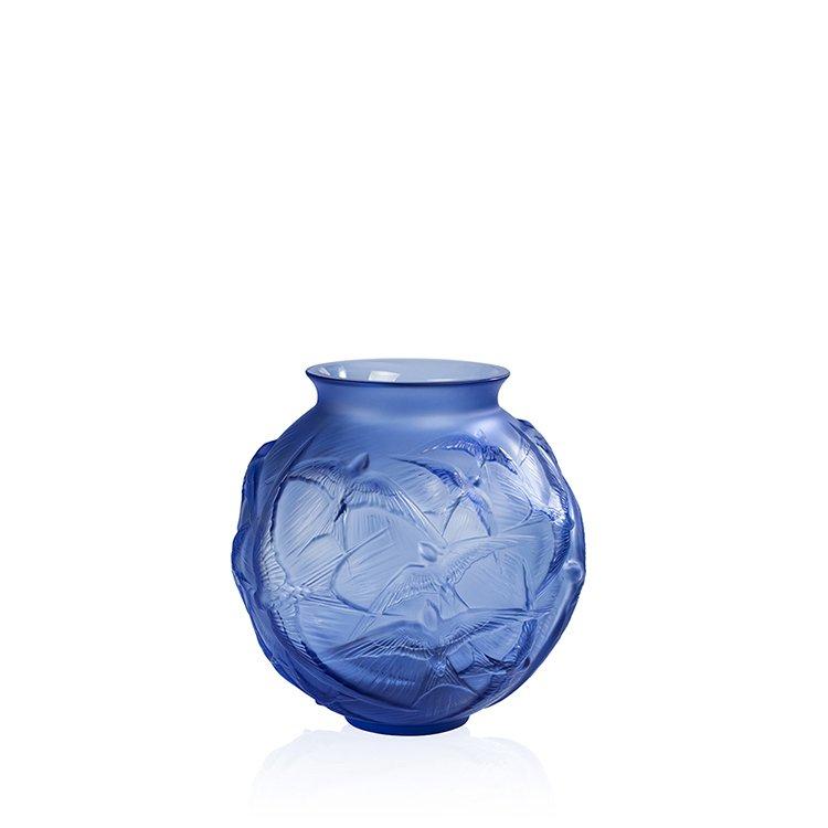 Vase-hirondelle-bleu-saphire-Lalique