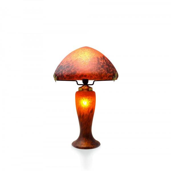Lampe-champignon-pate-de-verre-rouge