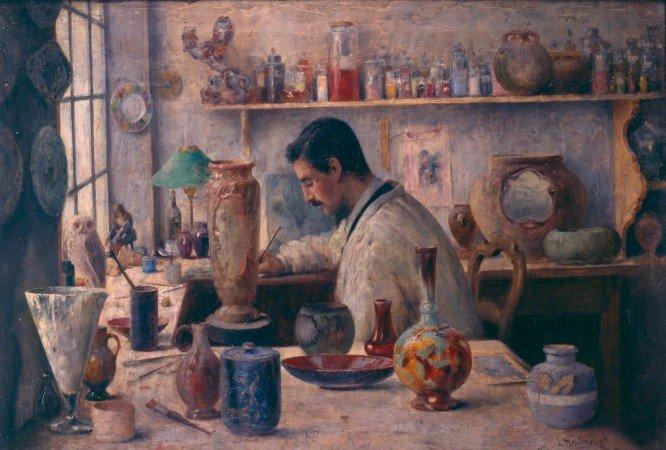 Le-peintre-sur-faience-Louis-Hestaux