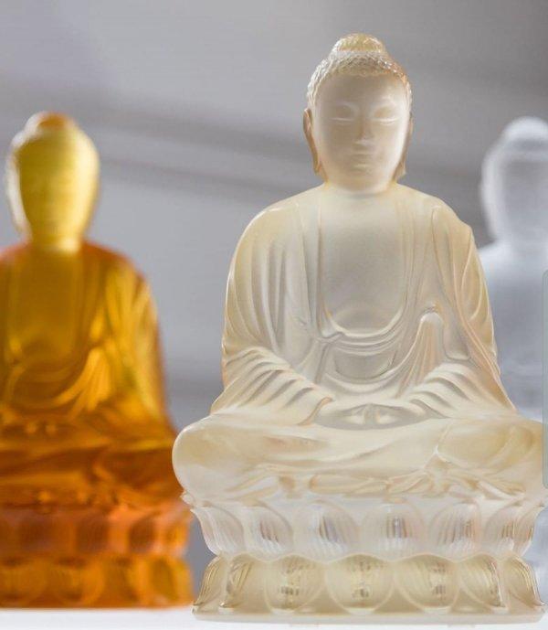 sculpture bouddha cristal lustre or Lalique
