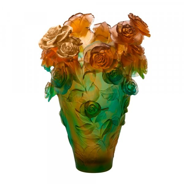 Vase-Magnum-vert-orange-bouquet-or-Daum