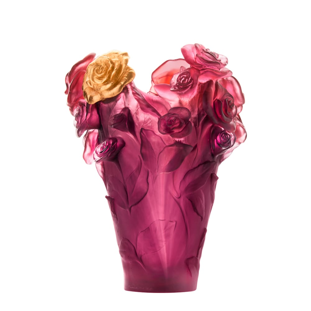 225 & PURPLE \u0026 GOLD FLOWER ROSE PASSION VASE DAUM