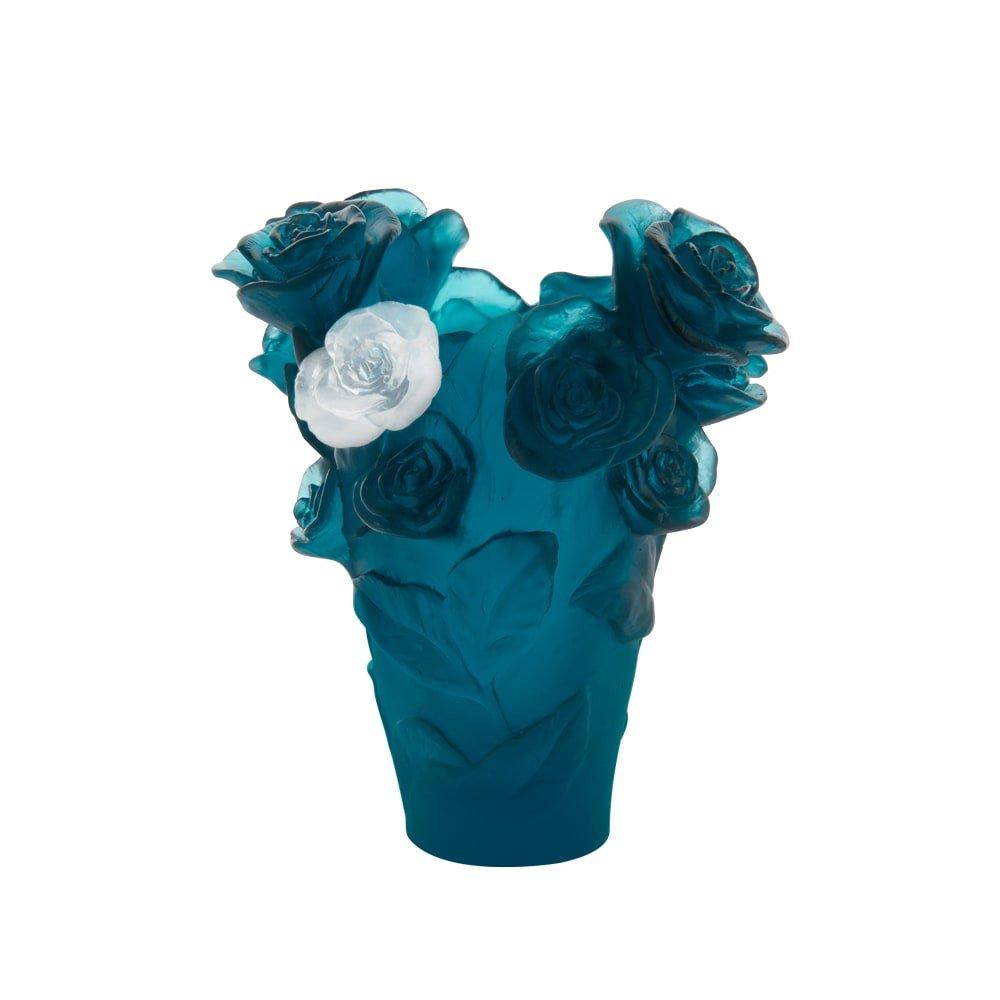 Blue white flower rose passion vase daum vessiere vase roses passion bleu daum mightylinksfo
