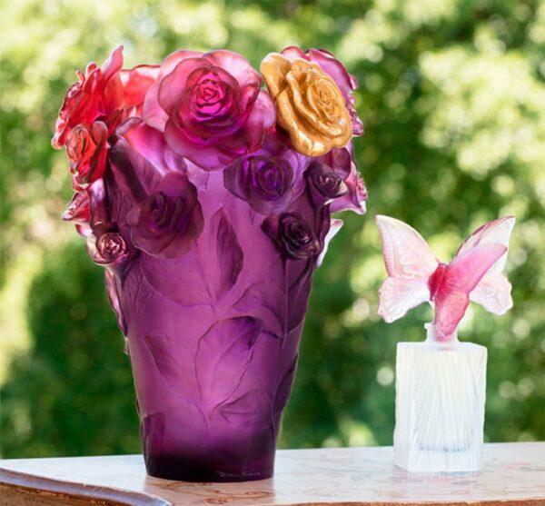 Vase-roses-violer-feuille-or-Daum-France