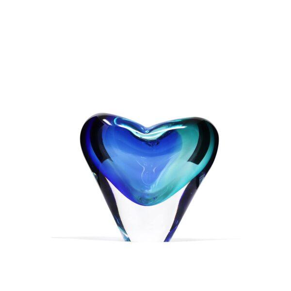 Vase coeur cristal bleu