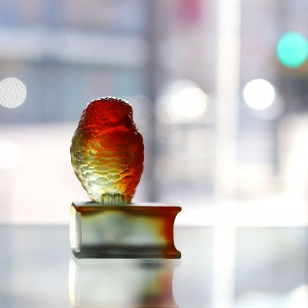 sculpture chouette en pate de cristal Daum France