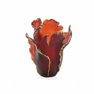 vase tulipe rouge tamponne or en pate de cristal daum