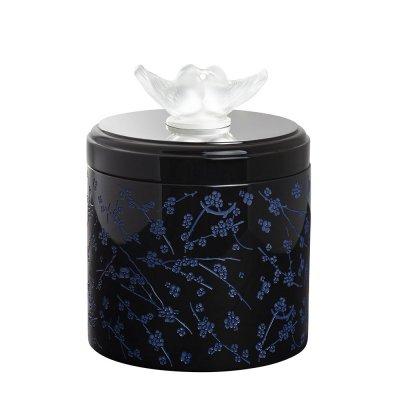 boite en laque noir et cristal fleur de cerisier Lalique