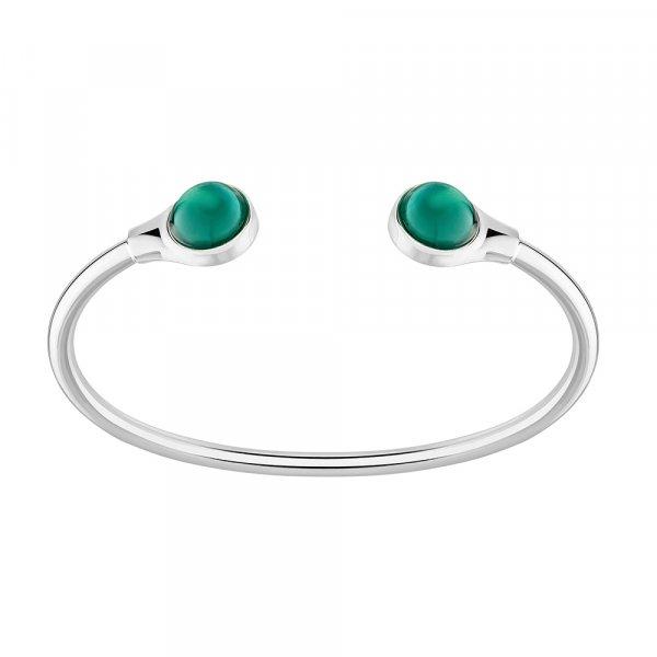 bracelet flexible cabochon en cristal vert lalique France