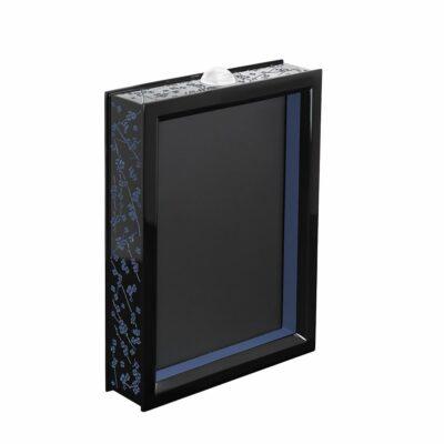 Cadre photo bois laqué noir et bleu et cristal Lalique