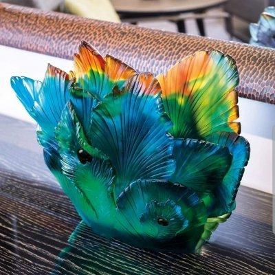 vase fleur de paon cristal Daum