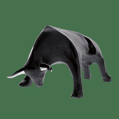 sculpture taureau en cristal noir daum france