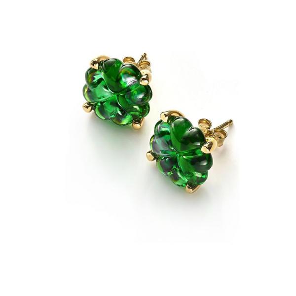 boucles oreilles trefle en cristal vert et vermeil Baccarat