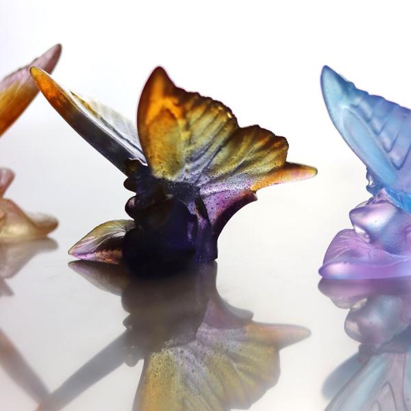 sculpture papillon en pate de cristal Daum France