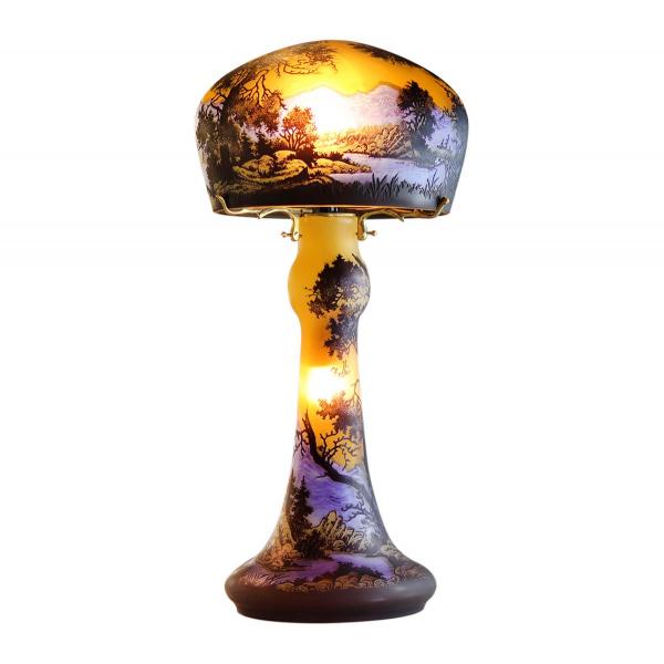 lampe-pate-de-verre-tip-galle-decor-montagne