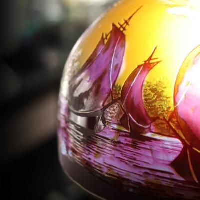 lampe en pate de verre gravure acide
