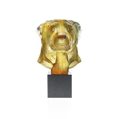 sculpture labrador en pate de cristal Daum France