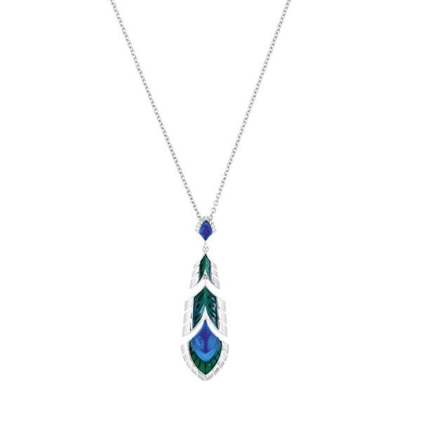 pendentif paon bleu lalique